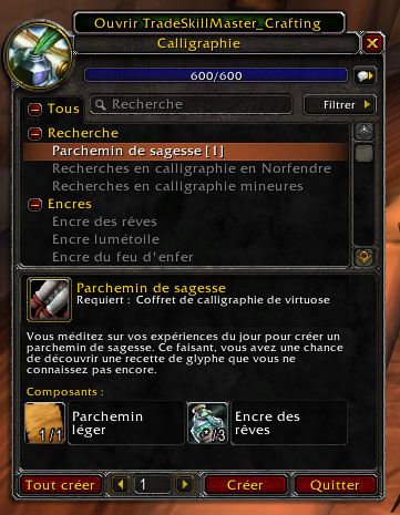 ouvrir TSM crafting